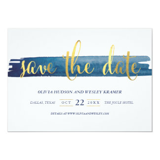 Watercolor Brush Stroke Faux Foil Save the Date Card