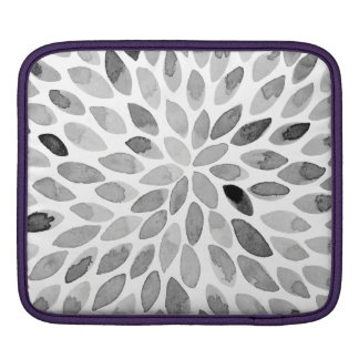 Watercolor brush strokes – black and white iPad sleeve