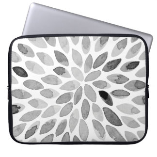 Watercolor brush strokes – black and white laptop sleeve
