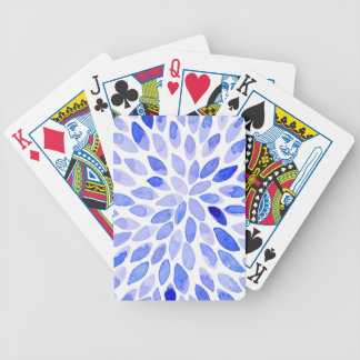Watercolor brush strokes - blue bicycle playing cards