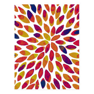 Watercolor brush strokes - multicolor postcard