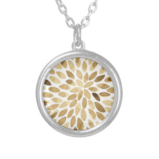 Watercolor brush strokes - neutral silver plated necklace