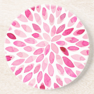 Watercolor brush strokes - pink coaster