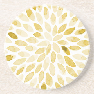 Watercolor brush strokes - yellow coaster