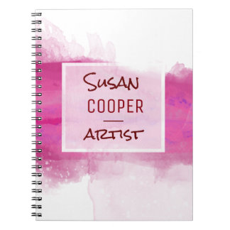 Watercolor Brushstrokes Crimson and ROSE Desig Spiral Notebooks
