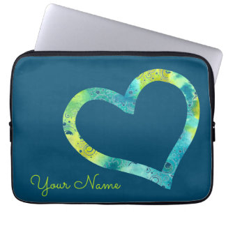 Watercolor Bubble Heart with Text Laptop Sleeve