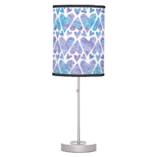 Watercolor Bubble Hearts teal purple lavender Desk Lamps