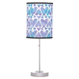 Watercolor Bubble Hearts teal purple lavender Table Lamp
