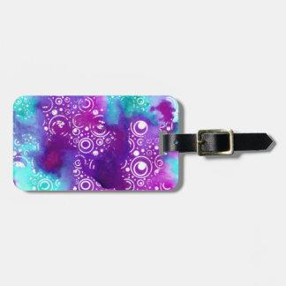 Watercolor Bubbles Purple/turquoise Bag Tag
