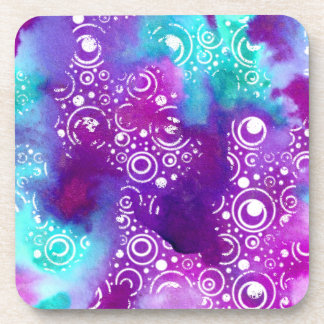 Watercolor Bubbles Purple/turquoise Coaster