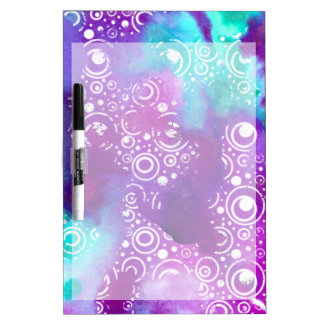 Watercolor Bubbles Purple/turquoise Dry Erase Board