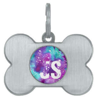 Watercolor Bubbles Purple/turquoise Pet Name Tag