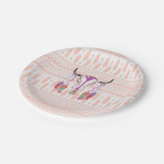 Watercolor Bull Skull Feathers and Arrow Aztec Paper Plate