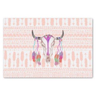 Watercolor Bull Skull Feathers and Arrow Aztec Tissue Paper