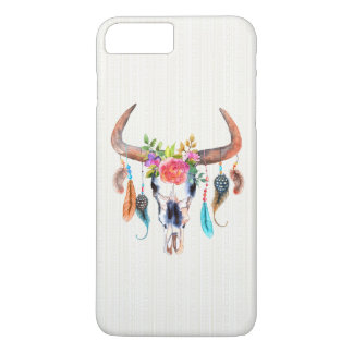 Watercolor Bull Skull Flowers And Feathers iPhone 8 Plus/7 Plus Case