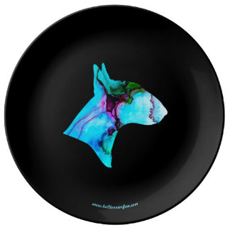 Watercolor Bull Terrier Silhouette deco plate