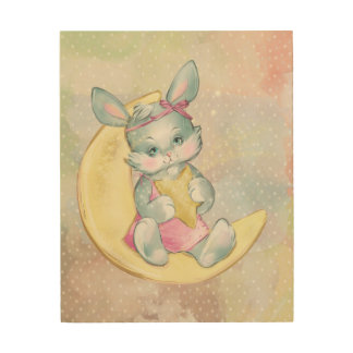 Watercolor Bunny Animal Wood Wall Decor