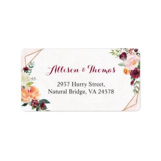 Watercolor Burgundy Blush Pink Floral Wedding Label