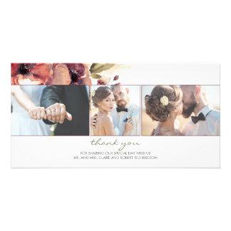 Watercolor Burgundy Flower Photo Wedding Thank You Card