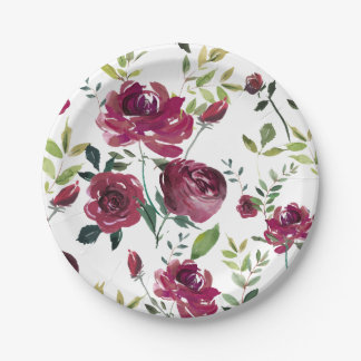 Watercolor Burgundy Flowers | Floral Pattern Paper Plate