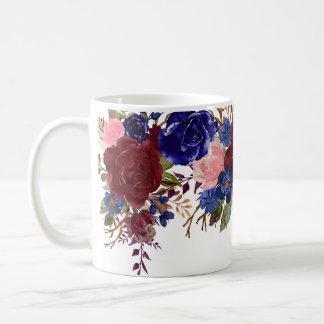 Watercolor Burgundy Navy Roses Flower Pretty Coffee Mug