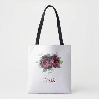 Watercolor Burgundy Rose Tote Bag