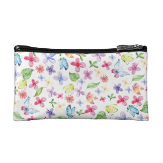 Watercolor butterflies and flowers cosmetics case