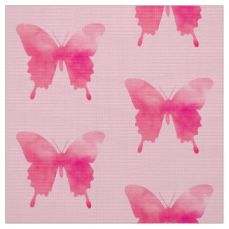 Watercolor Butterflies - Fuchsia and Pink Fabric