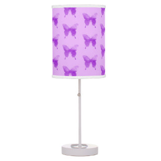 Watercolor Butterflies - Lavender and Violet Table Lamp