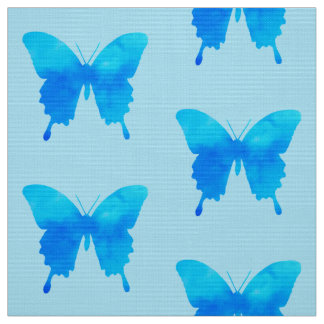 Watercolor Butterflies - Shades of Sky Blue Fabric