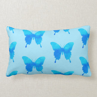 Watercolor Butterflies - Shades of Sky Blue Lumbar Pillow