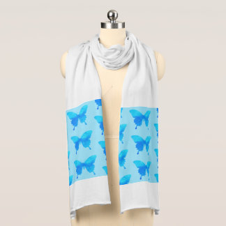 Watercolor Butterflies, Shades of Sky Blue Scarf