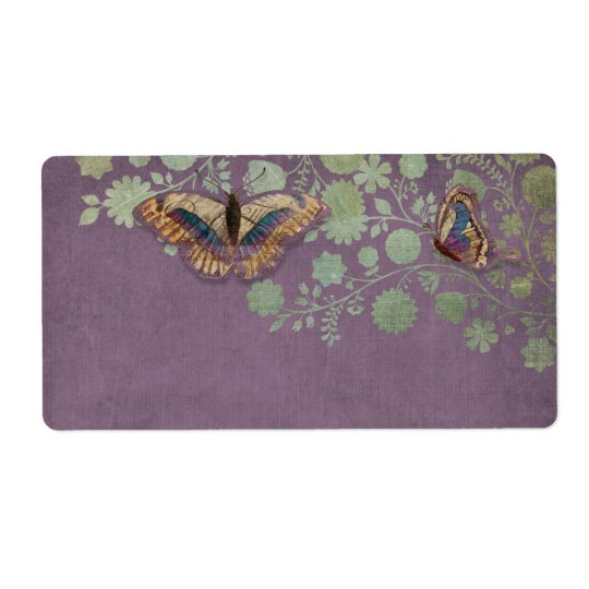 Watercolor Butterflies w Modern Floral Pattern