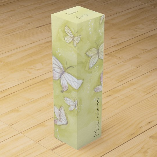 Watercolor butterflies wine boxes