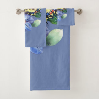 Watercolor Butterfly Bathroom Towel Set