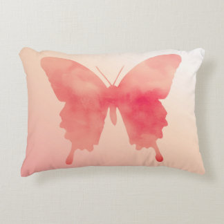 Watercolor Butterfly - Coral and Peach Accent Pillow