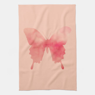 Watercolor Butterfly - Coral and Peach Kitchen Towel