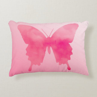 Watercolor Butterfly - Fuchsia and Pastel Pink Decorative Pillow