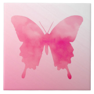 Watercolor Butterfly - Fuchsia and Pink Ceramic Tiles