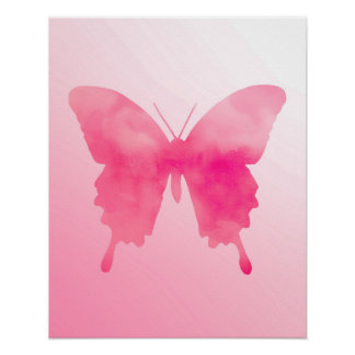 Watercolor Butterfly - Fuchsia and Pink Poster
