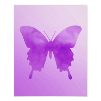 Watercolor Butterfly - Lavender and Violet Poster