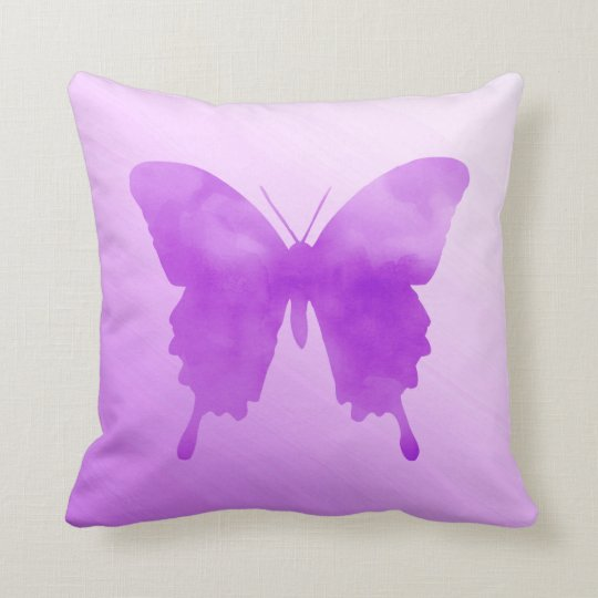 Watercolor Butterfly - Lavender and Violet Throw Pillow