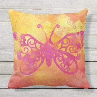 Watercolor Butterfly Pink Orange Yellow Handpaint Outdoor Pillow