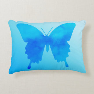 Watercolor Butterfly - Shades of Sky Blue Accent Pillow