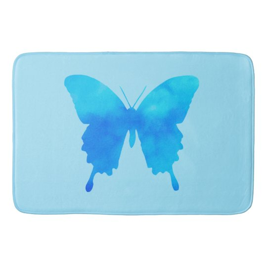 Watercolor Butterfly - Shades of Sky Blue Bathroom Mat