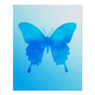 Watercolor Butterfly - Shades of Sky Blue Poster