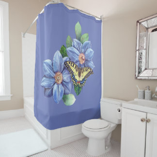 Watercolor Butterfly Shower Curtain