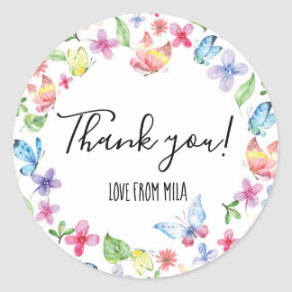 Watercolor Butterfly thank you stickers