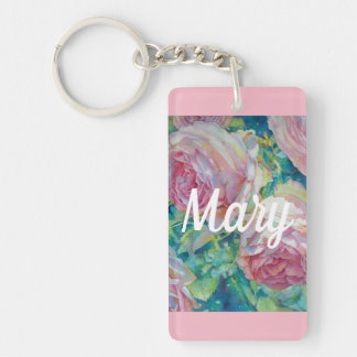 Watercolor Cabbage Roses Custom Key Fob