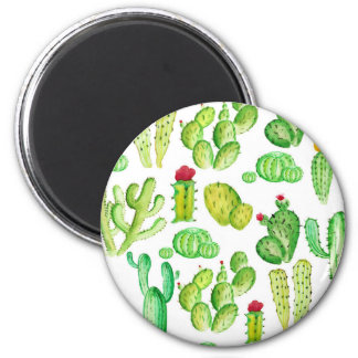 Watercolor Cacti 2 Inch Round Magnet